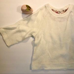 Forever 21 Sweater Cream 3/4 sleeve